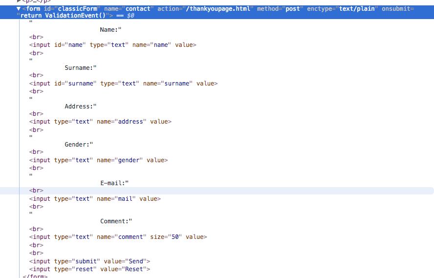 código fuente formulario HTML