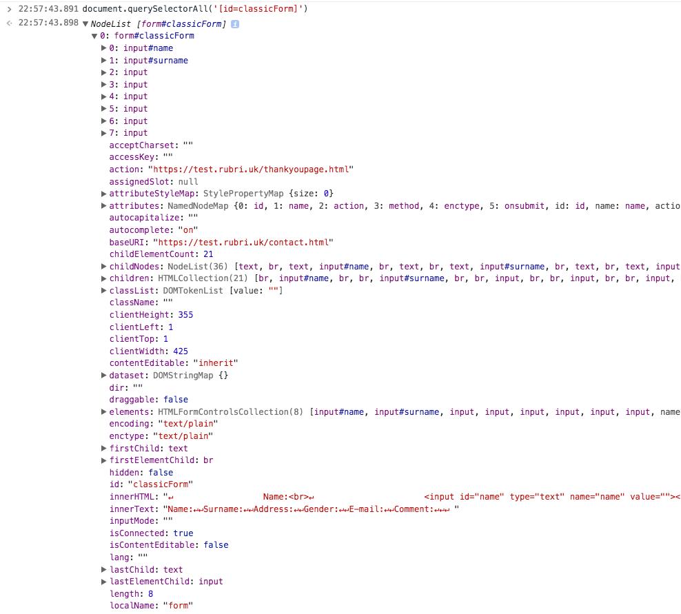 DOM formulario con querySelectorAll