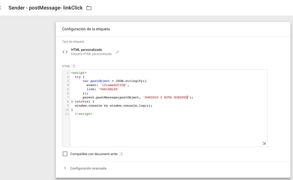 muestra código iframe